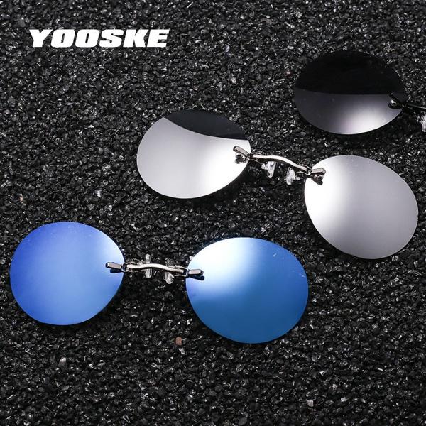 Clip on nose Round Sunglasses Mini Eyewear Retro Vintage Matrix Hacker