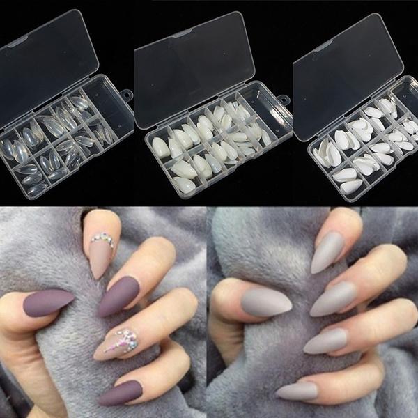 100pcs Stiletto Fake Nail Tips Full Cover Acrylic Artificial False Nail Tips Box Arte De Uñas Beige Claro Blanco Acrilico Uñas Postizas Artificial