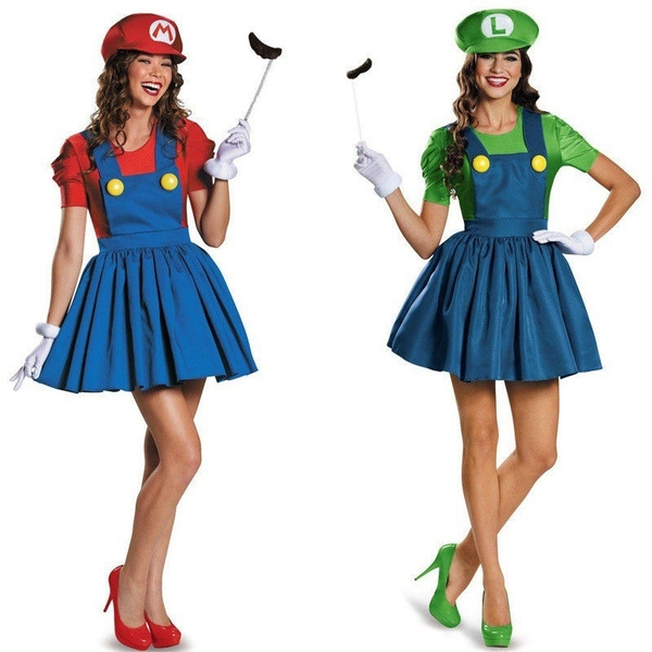 Womens Super Mario Costume Luigi Brothers Brother Plumber Fancy Dress 80s Party