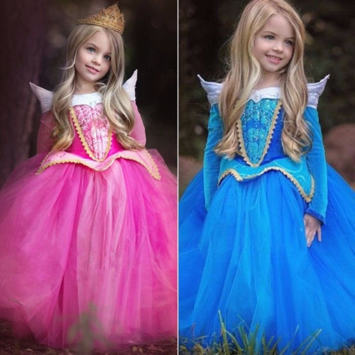 NEW Sleep Beauty Cinderella Princess Pink Dress Cosplay Costume Fancy Dress