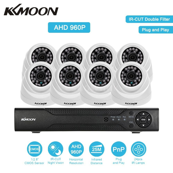 KKmoon 8CH Channel Full 1080N AHD DVR HVR NVR + 8*960P AHD Dome IR CCTV  Camera + 8*60ft Surveillance Cable Support for Android/iOS APP Control  Motion