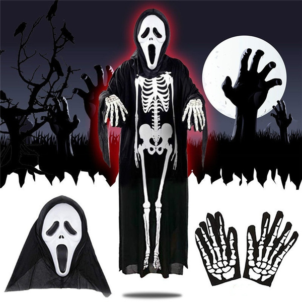 Skeleton Family Halloween Costumes.Halloween Ghost Skeleton Costume For Aldult Kids With Free Mask Gloves Devil Mask Scary Family Costumes Children Adult Cosplay Holiday Party