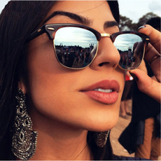 Fashion, semirimlesssunglasse, Vintage, Mirrors