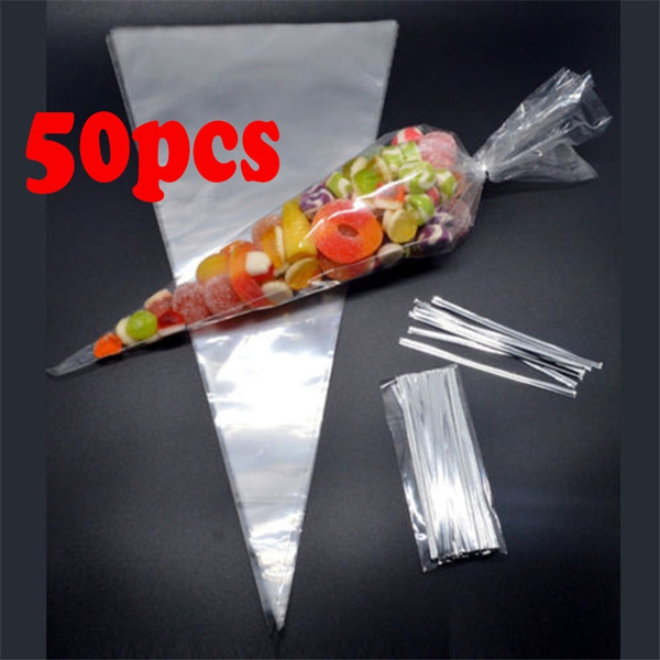 50pcs Christmas Gifts Flower Wedding Party Popcorn Halloween Candy Clear Cellophane Packing Bag With Twist Ties Sweet Box Cone