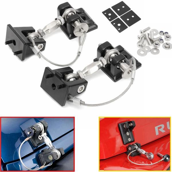 Black Hood Lock Latch Anti-Thief Catch Pin Kit with Key For Jeep Wrangler JK ya