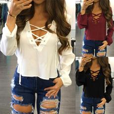 blouse, Deep V-Neck, laceuptop, Shirt