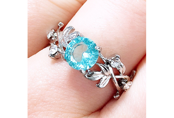 Noble Women's 925 Sterling Silver Floral Ring Transparent Aquamarine Diamond Jewelry Lucky Flower Vine Leaf Birthday Proposal Gift Bridal Engagement Party Rings Wedding Band Size 5-11