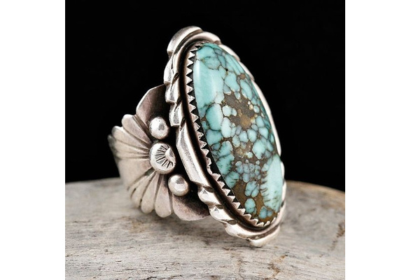 Antique 925 Sterling Silver Natural Turquoise Gemstone Floral Flower Anniversary Wedding Engagement Ring