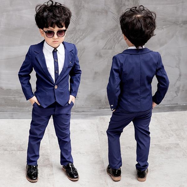 2b8136cd4 2018 New Children's Cloting Sets Kids British Gentleman Two-piece Dress  Suits Boy Suit Jacket + Suit Pants Outfits 2-Color 1-10 Years