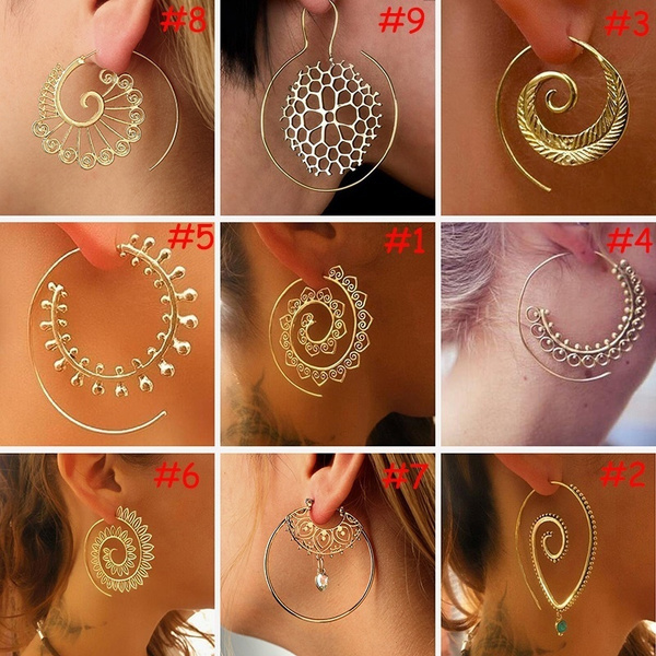 58ddde029 Gypsy Tribal Classics Spiral Hoop Earring Gold/Silver Plated ...