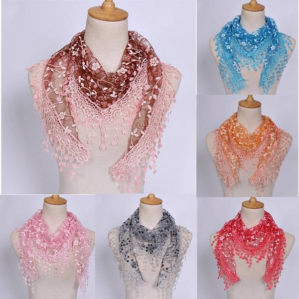 Scarves, Fashion, Triangles, flowertasselscarf