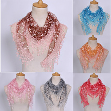 Bufándas, Moda, Triangles, flowertasselscarf