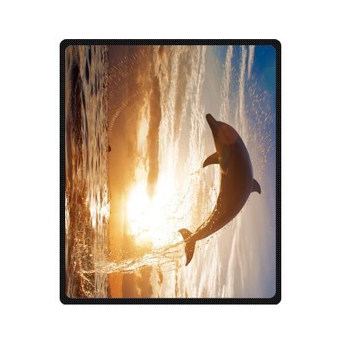 Coperte In Pile.Sunset Sea Dolphin Disegno Su Misura Cobertor Lana Coperta In Pile Coperta Corsa Esterna Coperte 58x80 Inch
