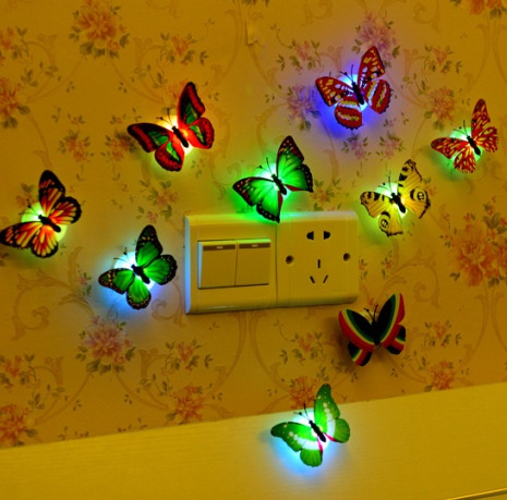 Colorful LED light night light 3d stereo simulation butterfly wall stickers  living room bedroom children room decoration(Size: 2pcs)