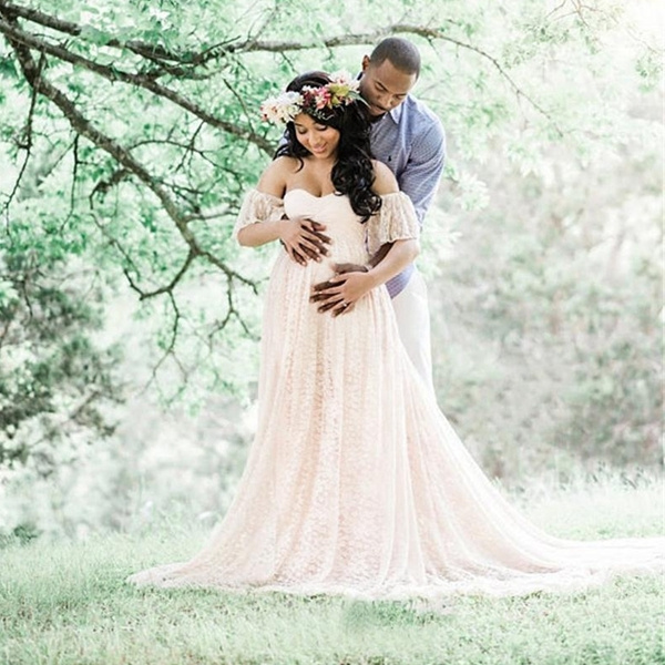 Maternity Dresses Maternity Photography Props Plus Size Lace Fancy  Pregnancy Dresses Photography White Gown Dress