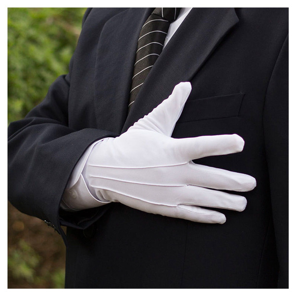 1Pair Mens White Formal Gloves Tuxedo Honor Guard Parade Santa Inspection Police