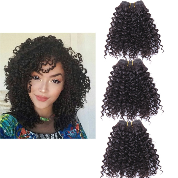 Ombre Blended Hair Weaves Bohemian Style Short Curly Wefts 3 Bundles 8 Inches Brazilian Extension