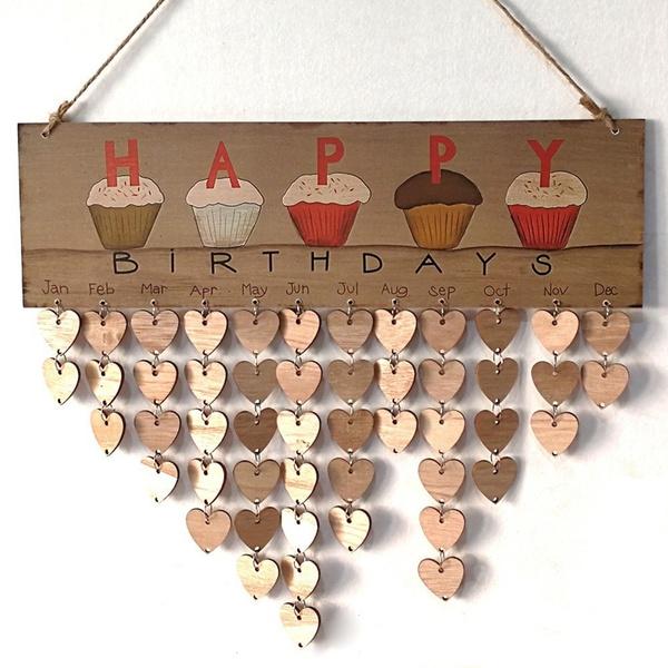 Wood Birthday Reminder Board Birch Ply plaque Sign Special Dates Calendar DIY
