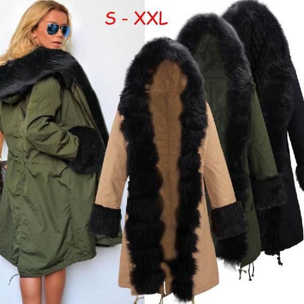 Outwear Wintermantel Solid Overcoat Parka Fashion Women Kapuze Faux Pelz Color 2017 Jacken Damenjacke xthsQrdC