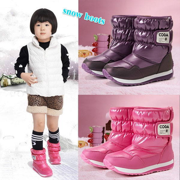 Girl's Winter Snow Boots Waterproof Kids Cold Weather Faux Fur Lined Shoes