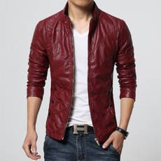 men coat, slim, Classics, leather