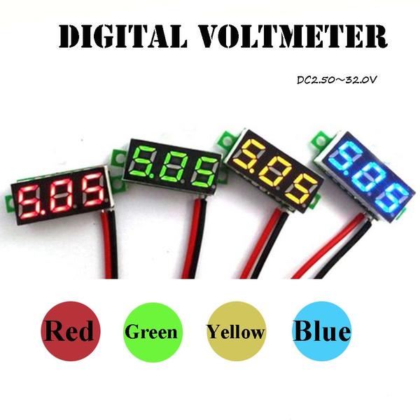 Mini DC 3-30V LED Panel Voltage Meter Display Digital Voltmeter With 2 Wire Blue