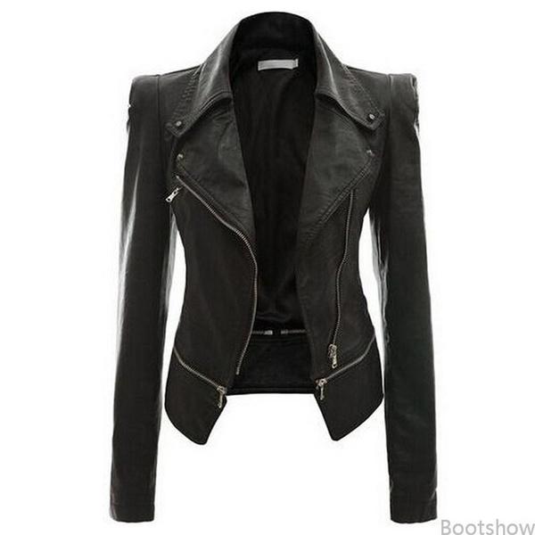 buy online b40ac 967f7 Giacche da donna Giacche da cucire sottili Giacche di pelle Giacche a  manica lunga in chiusura a motocicletta