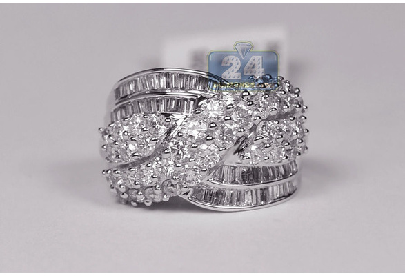 Women Chic 925 Sterling Silver Natural White Sapphire Gemstone Criss Cross Wedding Ring