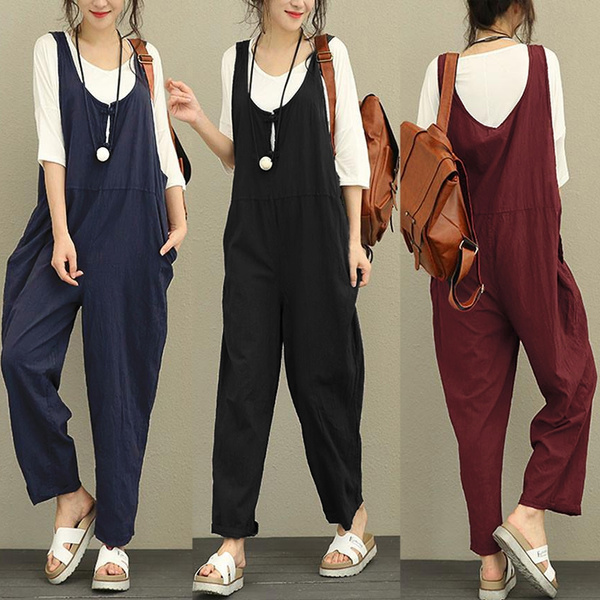 Rompers for Women,Women Fashion Solid Color Overalls Plus Size Loose Cotton Casual Sleeveles Rompers Jumpsuits