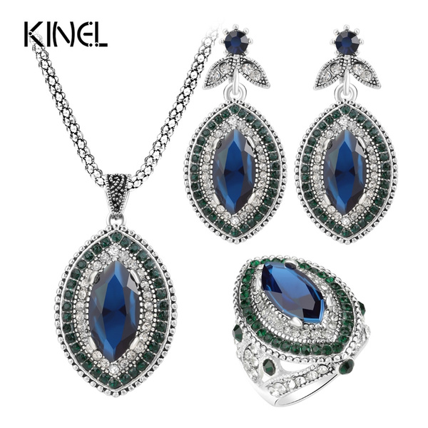 0a8a3626938 Kinel Luxury 3Pcs Vintage Wedding Jewelry Sets For Women 2017 ...