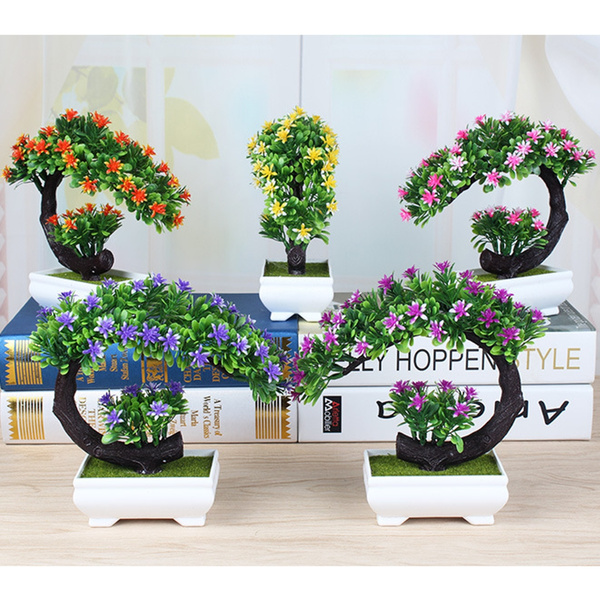 1Pcs Bonsai Tree in Oval Pot Artificial Planter Plant Office Home ...