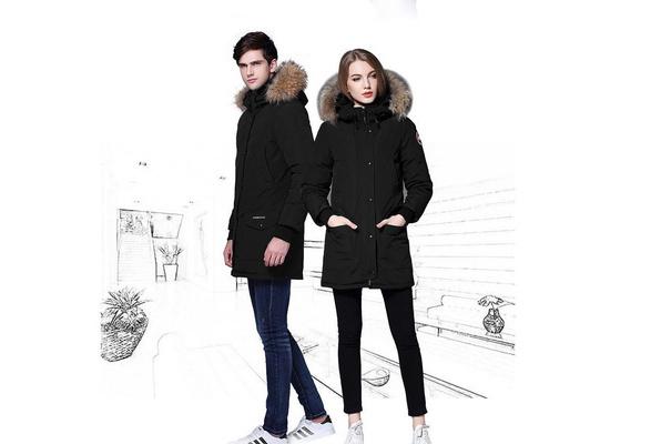 Fashion Classic Couple Winter Cotton Warm Long Jackets Winter Goose Down Fur Collar
