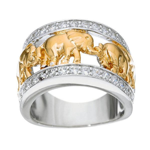Good Luck ELEPHANT 7 Ring Band Sterling Silver.925 Desiger Fashion 5 6 7 8 9 10