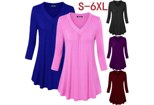 Women's Fashion Solid Color V-neck Long Sleeve Shirt Loose Pleated Hem Cotton Tops Blouse Plus Size S-6XL