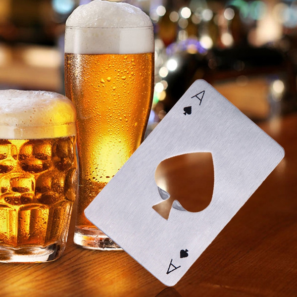 Portable Pocket Ace of Spades Poker Card Stainless Steel Beer Bottle Can Opener