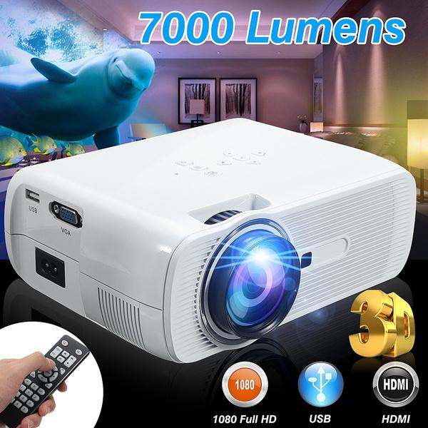 7000 Lumens 3D Full HD 1080P HDMI Mini Projector LED Home Theater AV USB VGA SD