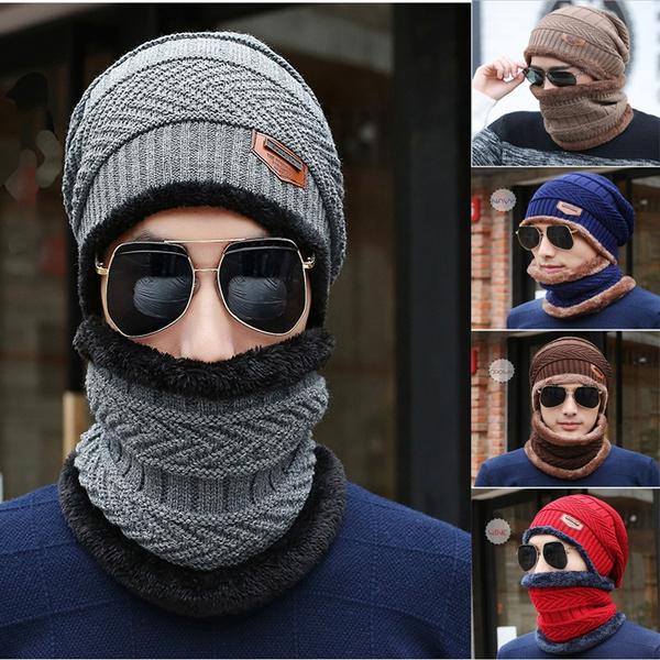 9de74cfbcf658 2017 New Knitted Hat Scarf Beanies Knit Men s Winter Hat Caps ...