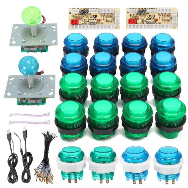 20 DIY LED Arcade Buttons + 2 Joysticks + 2 USB Encoder Kit Game Parts Set