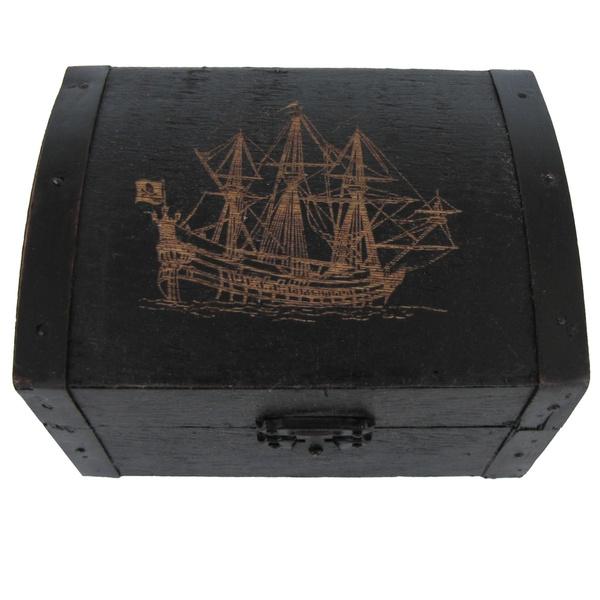 Antique, blacktreasurebox, nauticaldecor, Boxes