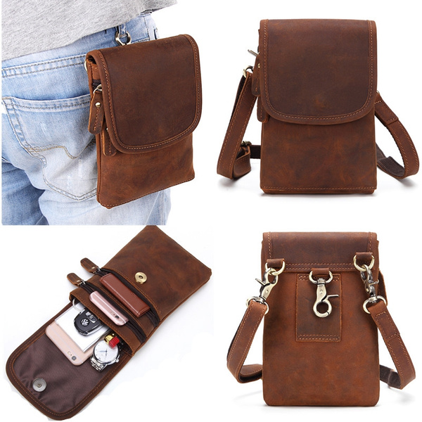 7eecec35e42 Genuine Leather Waist Packs Pack Belt Bag Phone Pouch Bags Travel Waist  Pack Male Small Waist Bag Leather Pouch
