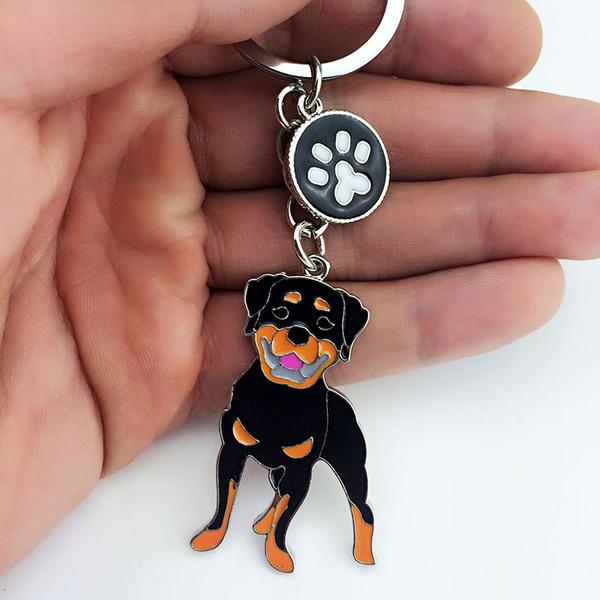 pet key ring dog gift Rottweiler key chain dog keychain bag charm
