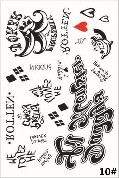 New Women Men Fashion Halloween The Joker Harley Quinn Temporary Tattoos Suicide Squad Costume Fancy Dress Tattoo Stickers 5 Styles