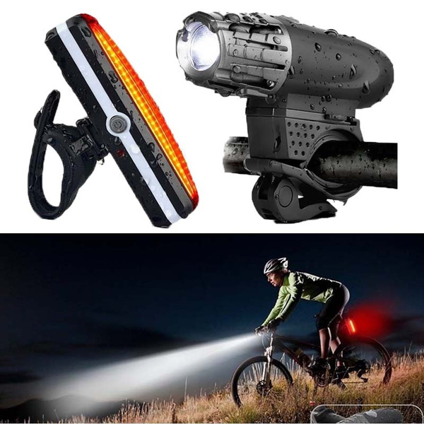 Waterproof LED Bicycle Bike Front Headlight USB Rechargeable and Rear Tail Light