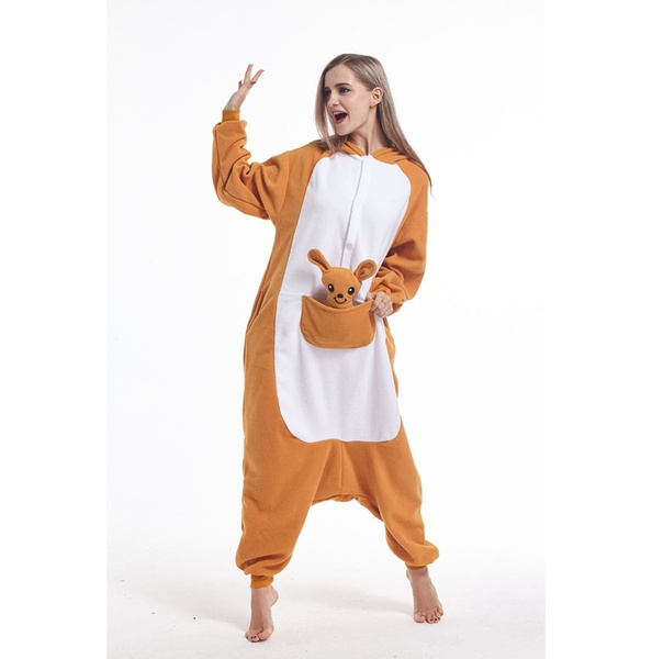 Unisex Adult Pajamas Kigurumi Kangaroo Cosplay Costume Animal outfit Sleepwear