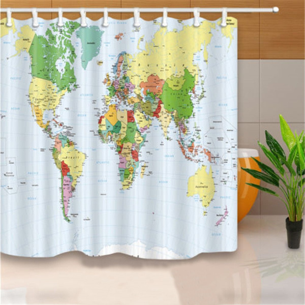 180*180cm Fashion World Map Polyester Fabric Bathroom Shower Curtain Panel  Sheer Hooks