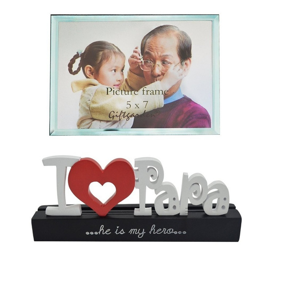 Wish | Giftgarden 5x7 Glass Photo Frame Tabletop I Love Papa Picture ...