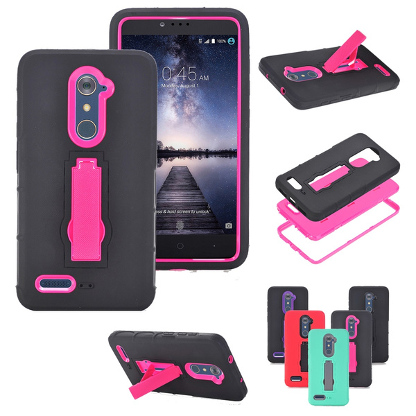 Premium Hybrid Hard PC + TPU Armor Rugged Shockproof Heavy Duty with  Kickstand Protection Soft Casefor ZTE ZMAX Pro (Carry Z981)/Max Duo LTE