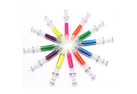24 PACK Syringe Highlighters Pen Marker Needle Ball Point Nurse Hospital Doctor