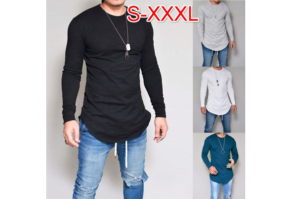2017 New Men Casual Tops Cotton Long Sleeve O-Neck Silm Fit T-shirt