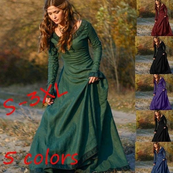 4801f3af98e79 5 Colors S-3XL Women Fashion Medieval Clothing Linen Dress Autumn ...